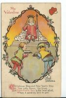 CH-064 My Valentine Artist Signed Etthel Delveis? Children Divided Back Postcard