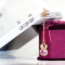1Pcs Cute Rabbit Head Dust Plug Rhinestone Chain Earphone Cap For Cell Phone