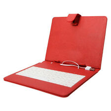 "Red  10"" Universal Tablet Case With Built-in Keyboard USB Cable & Stylus"
