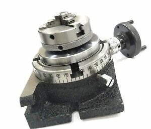 """HORIZONTAL VERTICAL MILLING INDEXING 4""""/100 ROTARY TABLE 65 MM 3 JAW SELF CHUCK"""