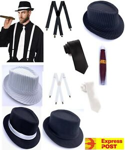 Mens 1920s 20s Party Gangster Set Hat Braces Tie Cigar Gatsby Costume 4pc kit