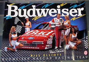 Bill Elliott #11 Signed 20x28 BUDWEISER NASCAR Thunderbird Racing Poster COA