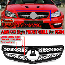 FOR Mercedes Benz C200 C250 C300 W204 08-14 AMG Style Grill Grille Black/Silver
