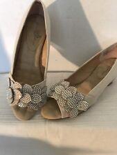 Joan Boyce Cream Sparkle Cork Wedge 7W Shoes