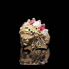 1.24TCW Marquise Ruby Red Created Diamond Indian Chief Head Ring 14K Yellow Gold