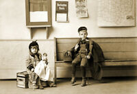 "1893 Young Children waiting for the Train Old Photo 13"" x 19"" Reprint"