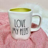 "NEW Rae Dunn By Magenta ""LOVE MY PEEPS"" Yellow Inside Coffee Mug Easter 2021 HTF"