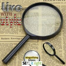 "2x LARGE MAGNIFYING GLASS MAGNIFYING GLASSES 4"" 3X GLASS LENS 100mm OPTICAL"