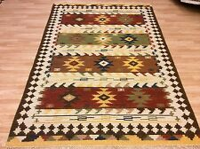 Authentic Wool Handwoven Tribal Kilim Cream Rust Green Rug Large 169x234cm 50 of