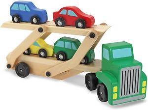Melissa & Doug Car Carrier Truck & Cars Wooden Toy Set ( NEW )