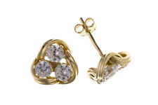 Knot Earrings Yellow Gold Studs Solid 9 Carat Cubic Zirconia Stud