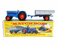 Matchbox Lesney K-11a Fordson Tractor And Farm Trailer Early Picture Box (VGC)