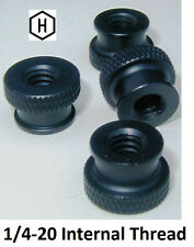 "1/4-20 x 3/8"" Knurled Thumb Nut (50 Pieces) Aluminum Black Anodize Finish"