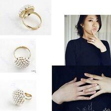 New Cute Adjustable White Flower Pearl Mushroom Ring Fashion