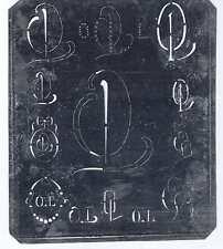 Große Monogramm Schablone  OL  Jugendstil Weißblech 16,5 x 18 cm Weissstickerei