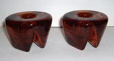 VTG HANDMADE PAIR BLENKO 990B AMBER ART GLASS HEAVY TRIPOD CANDLE STICK HOLDERS