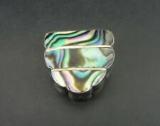 Vintage Abalone Stone Inlays Mexico Sterling 925 Silver Pill Box