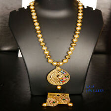 INDIAN JEWELLERY CHOKER SET DELICATE KUNDAN STYLE GOLD PLATED CLEAR BEADS NEW