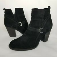 """Ivanka Trump Ankle Boots 3"""" Size 8.5 Black Suede Leather Side Zip Buckle Accent"""