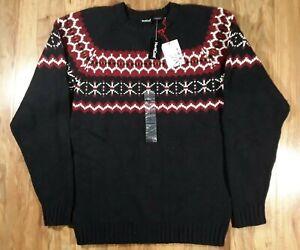 Men's NorthCrest Winter Holiday Pullover Knit Sweater ( Medium 38-40) Black NEW