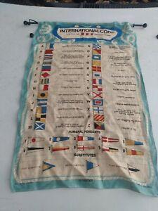 Vintage Linen Nautical INTERNATIONAL CODE Flag & Pennant Ulster Weavers