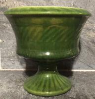 Vtg Haeger Pottery USA Pedestal Planter BEAUTIFUL GREEN MCM DECO RETRO ~ As Is