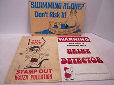 LOT OF 3 VINTAGE 1968 1977 POOLMASTER PLASTIC POOL SIGNS - URTEK URINE RESTROOM