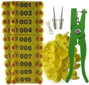 Ear Tag Sheep Goat Cow Livestock Cattle Numbered Applicator Pliers 001-100 + NEW