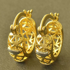 Filled Openwork Womens Hoop earing Statement Superior 14K Yellow White Gold