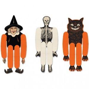 """Vintage Halloween Tissue Dancers Witch Skeleton Black Cat 3 Per Pack 14"""" Paper"""
