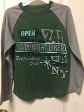 Cherokee Boys Shirt Green Gray knit Graphic tee M Late Night Diner Long Sleeve