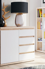 Ruby Small Sideboard Oak Effect with Matt White Lounge Furniture Dresser B16