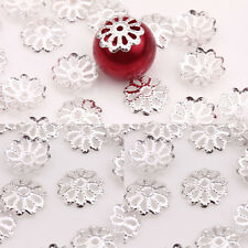 New 300Pcs Silver Plated Flower Charms Bead Caps Spacer Jewelry Findings DIY 8mm