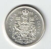 CANADA 1959 50 CENT HALF DOLLAR QUEEN ELIZABETH CANADIAN .800 SILVER COIN