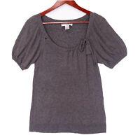 Sarah Spencer Women's Gray Wool Blend Short Sleeve Top - Size Medium