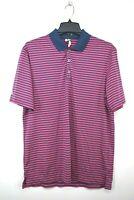 Adidas Mens Pink Striped 1/4 Button Short Sleeve Athletic Golf Split Hem Polo M
