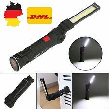 LED Magnetische Taschenlampe USB Wiederaufladbare COB Arbeitslicht Inspektion DE