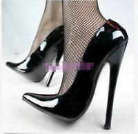 18CM Womens Patent Leather Super High Heel Stilettos Pointed Toe Party Shoes Sz