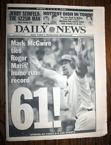 New York Daily News, Sept 8,1998 - McGwire Ties Maris' HR Record -Complete Paper