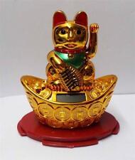 """4"""" Solar Powered Moving Hand Golden Maneki Neko Lucky Cat On Gold"""