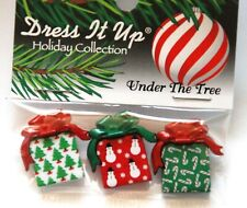 Under the Tree / Christmas Gift Package Shank Buttons / Dress It Up Holiday