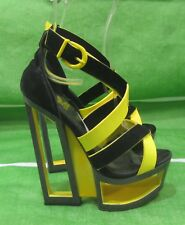 """Black/Yellow 5.5""""High Wedge Heel 2"""" Platform Ankle Strap Sexy Shoes Size 5"""