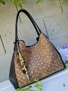 New Coach 33523 edie LRG SIGNATURE/ leather Shoulder Bag purse hobo handbag