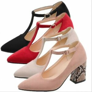 Women Girls Lolita T Strap Pumps Pointy Toe Thick Heel Mary Janes Shoes 44/45/46