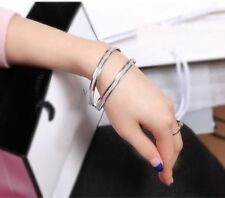 Punk Women Stainless Steel Scrub Wristband Infinity Bangle Charm Bracelet