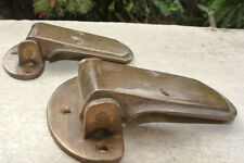 "2 large ICE BOX hinges vintage aged style solid Brass heavy offset restore 4"" B"
