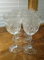 """SET OF 4 CRISTAL D'ARQUES ANTIQUE PATTERN CLEAR 6 SIDED NO KNOB 7"""" H WINE STEMS"""