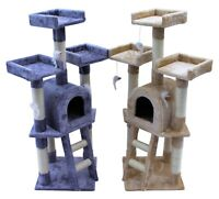 Kitten Cat Tree Scratch Post Sisal Toy Activity Centre Grey/Beige with cat nip
