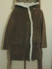Girl's Vintage Brown Corduroy Winter Coat with Hood.