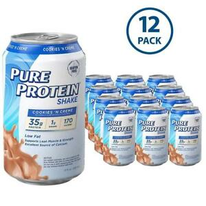 Pure Protein 35 g Shake RTD Meal Replacement 11 oz Cookies n' Cream  - 12 ct.